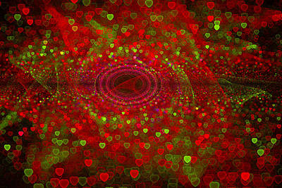 Fractal Digital Art - Red And Green Hearts Christmas Design by Matthias Hauser