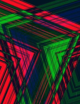 Red And Green In Geometric Design Print by Mario Perez