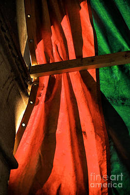 Red And Green In Venice Print by John Rizzuto