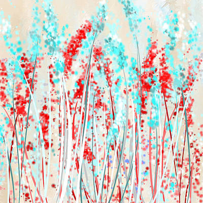 Red And Teal Fields Print by Lourry Legarde