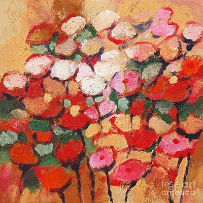 Serenade Painting - Red And White Flowers by Lutz Baar