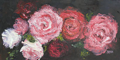 Roses Painting - Red And White Roses by Jan Matson