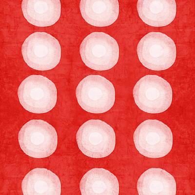 Red And White Shibori Circles Print by Linda Woods