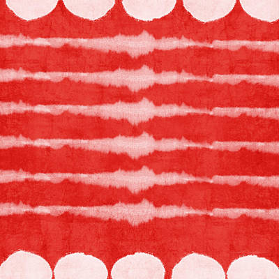 Inspired Mixed Media - Red And White Shibori Design by Linda Woods
