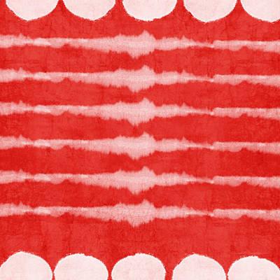 Red And White Shibori Design Print by Linda Woods