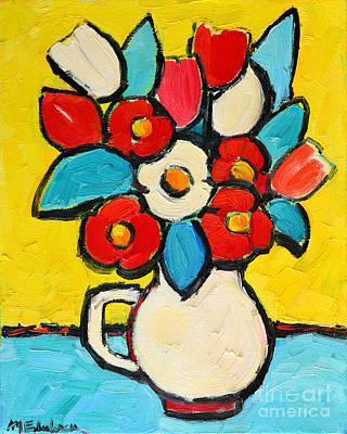 Vivid Colour Painting - Red And White Tulips by Ana Maria Edulescu