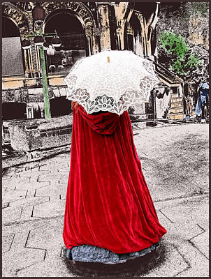 1890s Digital Art - Red And White Walking by Kae Cheatham