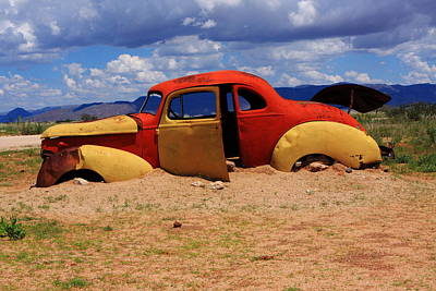Wrecked Cars Photograph - Red And Yellow Car by Aidan Moran
