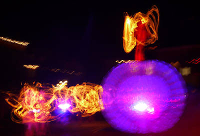 Long Exposure Mixed Media - Red Angel On Ball by Armin Schumm