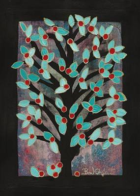 Barbara St. Jean Drawing - Red Apple Tree by Barbara St Jean
