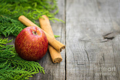 Christmas Natural Photograph - Red Apple With Cinnamon Sticks by Aged Pixel
