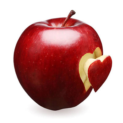 Red Apple With Heart Print by Johan Swanepoel