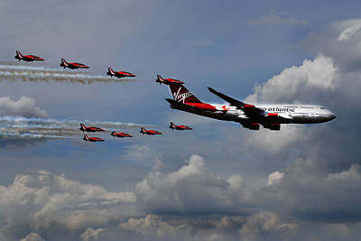 Airplane Photograph - Red Arrows And Lady Penelope by Mark Rogan