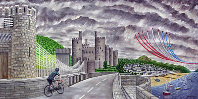Wales Painting - Red Arrows At 1000 Feet Over Conway Castle by Ronald Haber