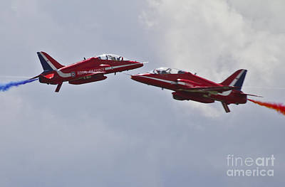 Raf Photograph - Red Arrows Cross Over by J Biggadike