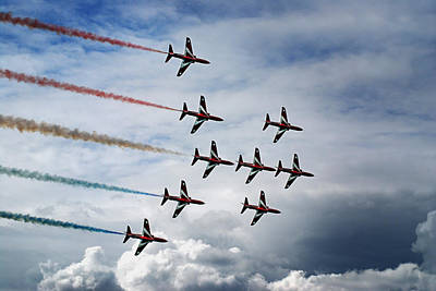 Red Arrows In Typhoon Formation Print by Mark Rogan