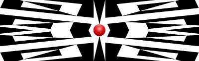 Mike Mcglothlen Modern Art Drawing - Red Ball 9 Panoramic by Mike McGlothlen