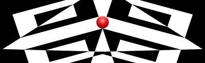 Mike Mcglothlen Modern Art Digital Art - Red Ball 12 H Panoramic by Mike McGlothlen