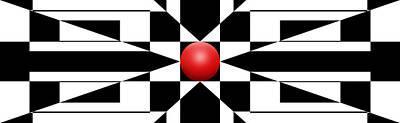 Mike Mcglothlen Modern Art Digital Art - Red Ball 1 Panoramic by Mike McGlothlen