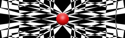 Mike Mcglothlen Modern Art Drawing - Red Ball 16 Panoramic by Mike McGlothlen