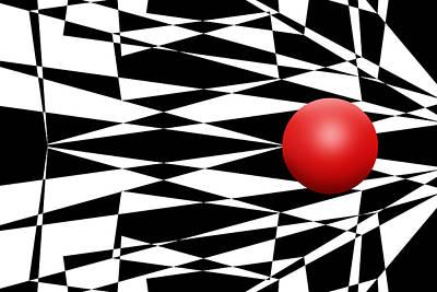 Mike Mcglothlen Modern Art Digital Art - Red Ball 17 by Mike McGlothlen