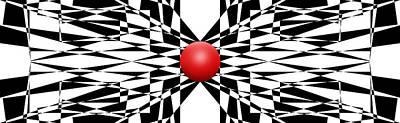 Mike Mcglothlen Modern Art Digital Art - Red Ball 22 Panoramic by Mike McGlothlen