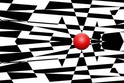 Mike Mcglothlen Modern Art Digital Art - Red Ball 23 by Mike McGlothlen