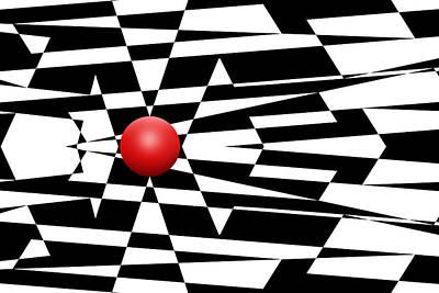 Mike Mcglothlen Modern Art Drawing - Red Ball 24 by Mike McGlothlen