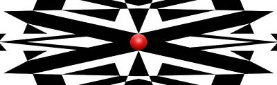 Mike Mcglothlen Modern Art Digital Art - Red Ball 25a Panoramic by Mike McGlothlen