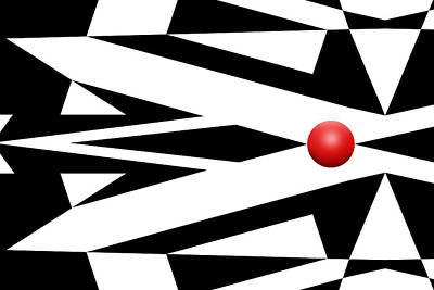 Mike Mcglothlen Modern Art Digital Art - Red Ball 26 by Mike McGlothlen