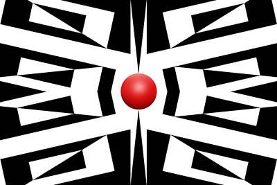 Mike Mcglothlen Modern Art Digital Art - Red Ball 8 by Mike McGlothlen