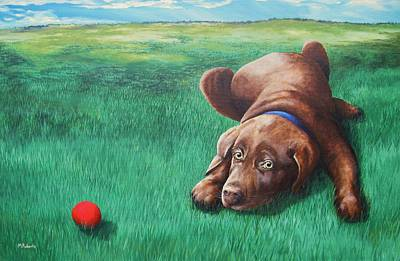 Chocolate Lab Puppy Painting - Red Ball by Mark Alan Roberts