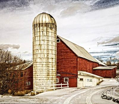 Red Barn. New England Photograph - Red Barn And Silo Vermont by Edward Fielding