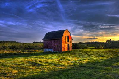 Autumn Scenes Photograph - Red Barn Autumn Sunset by Joann Vitali