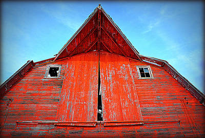 Abandoned Photograph - Red Barn Face by Miss Judith