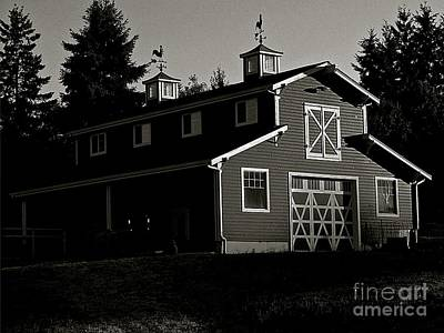 Red Barn In Black And White Print by Lisa  Telquist