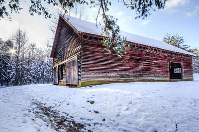 Red Barn In Winter Photograph - Red Barn In Cades Cove by Lori Douthat