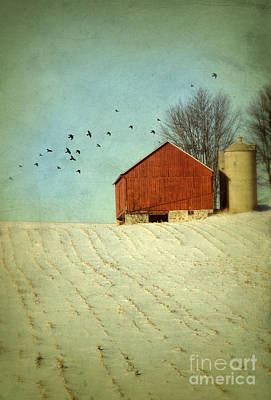 Red Barn In Snow Print by Jill Battaglia