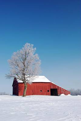 Red Barn In Snow Print by Jim West
