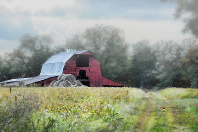 Red Barn In The Fog Print by Jai Johnson