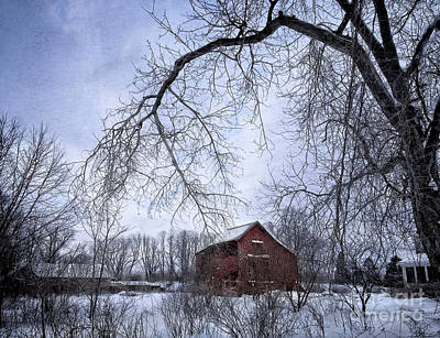 Red Barn In The Snow Print by HD Connelly