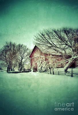 Red Barn In Winter Print by Jill Battaglia