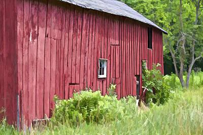 Decrepit Digital Art - Red Barn Side by David Letts