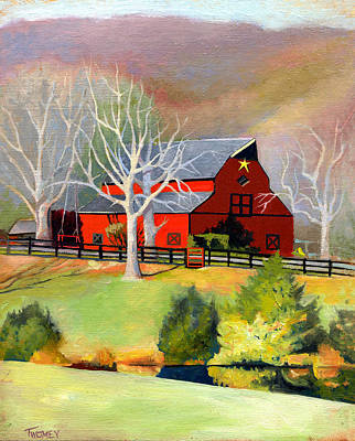 Fencing Painting - Red Barn Star  by Catherine Twomey