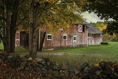 Red Barn. New England Photograph - Red Barns And Stone Fences-new England Traditions by Thomas Schoeller