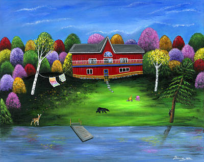 Lakefront Painting - Red Bear Cottage by Brianna Mulvale