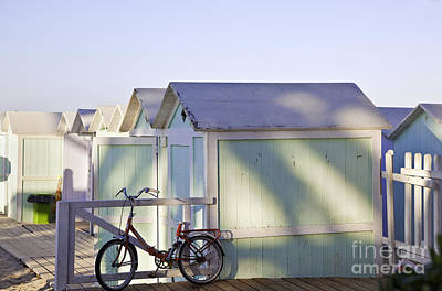 Red Bicycle At Mondello Beach Print by Madeline Ellis