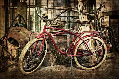 Red Bike Print by Debra and Dave Vanderlaan