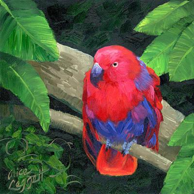 Parakeet Painting - Red Bird by Alice Leggett