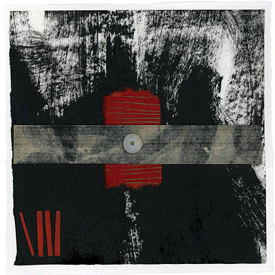 Japan Mixed Media - Red Black And White Collage 2 by Carol Leigh